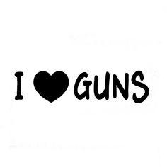 Wholesale 10pcs/lot 20pcs/lot I Love Guns Sticker Vinyl Decal Funny Hunting Car Truck Window Wall Decor White