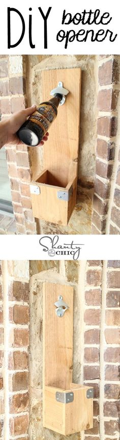 Do It Yourself Project - Perfect for a Gift for Fathers Day - DIY Bottle Opener for Dad's Man cave! SIMPLE Woodworking Project by Shanty2Chic