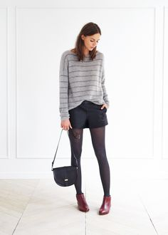 Everything ... The Sweater, The Shorts, The Tights, The Flat Ankle Boots