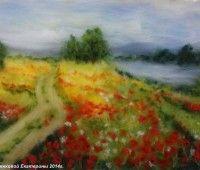 Картина из шерсти Маковое поле