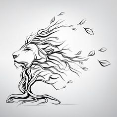 Head of lion in form of tree Royalty Free Stock Vectors Lion Stencil, Stencil Art, Animal Drawings, Art Drawings, Lion Flower, Lion Sketch, Large Wall Decals, Lion Drawing, Leo Tattoos