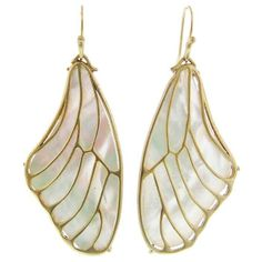 Annette Ferdinandsen Pampian Wing Earrings - White Pearl ($990) ❤ liked on Polyvore featuring jewelry, earrings, white, handcrafted jewellery, wing jewelry, long earrings, white earrings and pearl earrings jewellery