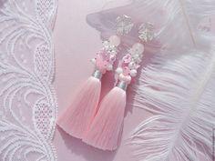 """Купить Серьги кисти """"Розовые"""" - серебро, розовый, белый, бело-розовые серьги…"""