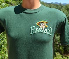 vintage 80s t-shirt university HAWAII rainbows by skippyhaha