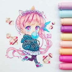 Marvelous Learn To Draw Manga Ideas. Exquisite Learn To Draw Manga Ideas. Kawaii Anime, Kawaii Chibi, Cute Chibi, Kawaii Art, Sooo Kawaii, Copic Kunst, Copic Art, Marker Kunst, Marker Art