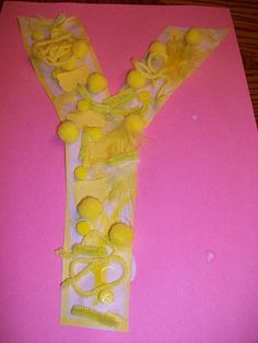 y is for yellow- use letter cutouts and then attach colored objects paint y yellow Alphabet Letter Crafts, Abc Crafts, Alphabet Phonics, Daycare Crafts, Learning The Alphabet, Alphabet Book, Letter Art, Kids Crafts, Preschool Colors