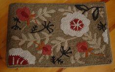 Primitive Hand Hooked Floral Rug Whimsical Neutral Colors Wool Rug Hooking