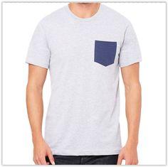 Bella + Canvas Men's Jersey Short-Sleeve Pocket T-Shirt in Ath Hthr/ Navy, add a custom design Blank T Shirts, Tee Shirts, Tees, Mens Wholesale Clothing, Surfer Dude, Jersey Shorts, Bella Canvas, Biceps, Mens Tops