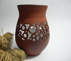 Ceramic Vase Hand Carved Decorative Cutout Dried by ClayismyArt