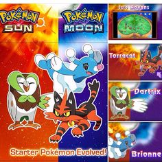 Sun and Moon starter Pokemon evolutions revealed  #pokemon #rowlett #litten #popplio