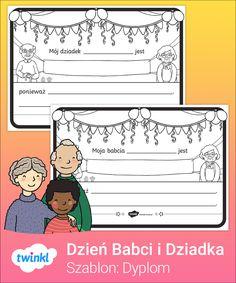 Przygotuj śliczną laurkę z okazji Dnia Babci lub Dnia Dziadka przy użyciu tych ilustrowanych szablonów! Kliknij, by pobrać i odkryć tysiące innych prac plastycznych i materiałów dydaktycznych - z nami pokochasz nauczanie! #dzienbabci #dziendziadka #dzieńbabci #dzieńdziadka #dyplom #szablon #szablony #dyplomy #kolorowanka #kolorowanki #laurka #laurki #dladzieci #dziadkowie #montessori #wczesnoszkolne #klasa1 #klasa2 #klasa3 #nauczaniedomowe #zdalne #online #cyfrowe #twinklpolska Jack Nicholson, Eric Clapton, Oprah Winfrey, Barack Obama, Peanuts Comics, Art, Art Background, Kunst, Performing Arts
