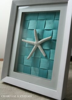 Simple Starfish Display - woven turquoise ribbon, white frame, and starfish - @Charcoal and Crayons