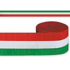 Our Red, White and Green Streamer will turn your Christmas or Italian themed party a little bit more festive. Each roll of Red, White and Green Streamer measures 2 1/2 inches wide.