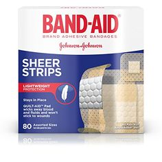 Band-Aid Brand Sheer Strips Adhesive Bandages, Basic Care Assorted Sizes, 80 Count Covers and protects minor wounds QUILTVENT pad for superior breathability Nonstick pad for gentle removal Sheer, flexible design First Aid Supplies, Natural Rubber Latex, Wound Care, Vbs Crafts, Band Aid, First Aid Kit, Flexibility, Adhesive