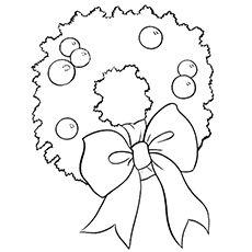 Christmas Wreath Ornament Printable Coloring Sheet
