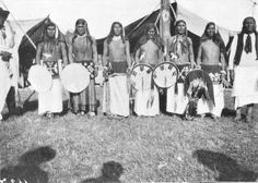 Ponca men prepare to participate in a Sundance Ceremony near Ponca City, Oklahoma - 1905