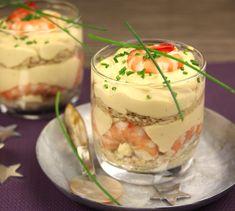 Tiramisu aux crevettes roses - Envie de bien manger. Plus de recettes de fruits de mer sur www.enviedebienmanger.fr                                                                                                                                                                                 Plus