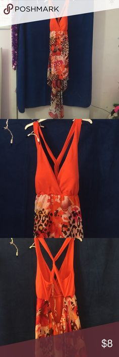 Orange high low summer dress Orange high low summer dress with floral and cheetah pattern on skirt, open back Dresses High Low
