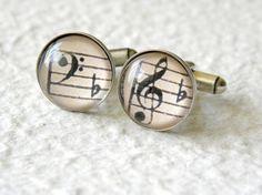 Symphony Music Notes Men's Cufflinks Cuff by TheGreenDaisyShop, $30.00