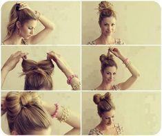 a gorgeous almost cat ear like top knot!  12 idées de coiffures simples et rapides pour les filles aux cheveux longs !