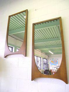 "Mid Century Danish Modern Walnut Wall Mirror by OldMillVintage 42X21.5"" $200"