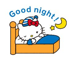 Sanrio Hello Kitty, Hello Kitty Art, Hello Kitty My Melody, Hello Kitty Pictures, Good Night Cat, Cute Good Night, Good Night Image, Good Night Blessings, Good Night Wishes