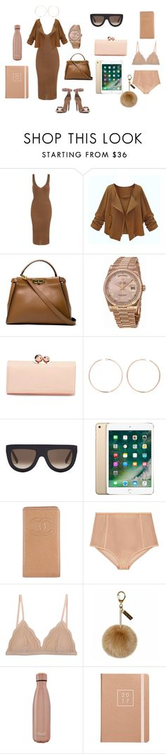 """browns"" by nkulzz on Polyvore featuring Alaïa, Fendi, Rolex, Ted Baker, Anita Ko, CÉLINE, Chanel, Gucci, Cosabella and S'well"