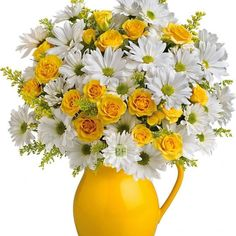 teleflora sunny day pitcher of daisies bouquet Happy Flowers, My Flower, Fresh Flowers, Yellow Flowers, Flower Vases, Silk Flowers, Spring Flowers, Beautiful Flowers, Yellow Bouquets