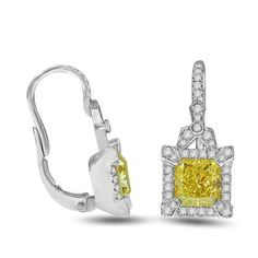 3.65 Ct Fancy Yellow Diamond Earrings in 18k White Gold – GIA | Your #1 Source for Jewelry and Accessories