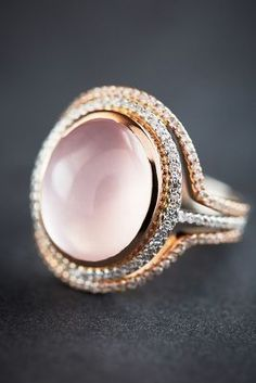 Liven Co. One-of-a-Kind Diamond and Rose Quartz Halo Ring in 14k Gold #anthroregistry