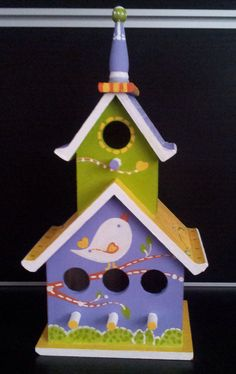 Whimsical Wood Birdhouse Indoor or Outdoor Hand Painted birdhouse with two tiers for outdoor gardens or home decor on