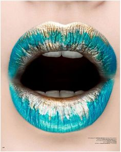 Lipstick Designs On Lips | Teal and gold crazy cool makeup design lipstick | Oh Hot Glam!