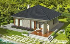 One story house plans - Houz Buzz 3d House Plans, Bungalow House Plans, Bedroom House Plans, Home Design Diy, House Design, One Story Homes, Fantasy House, Traditional House Plans, Roof Design