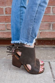 Distressed Faux Leather Fringe Detail Peep Toe Heels Sabrina-1 – UOIOnline.com: Women's Clothing Boutique