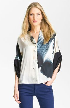 Like the easy style, colors, and print of this Elie Tahari blouse.