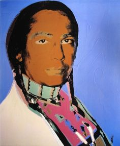 Pop Art - Andy Warhol - Russell Means - 1976 (sioux Oglala, leader de l'American Indian Movement) L'art Du Portrait, Portraits, Robert Rauschenberg, Russell Means, Pop Art, Andy Warhol, American Indians, Disney Characters, Fictional Characters
