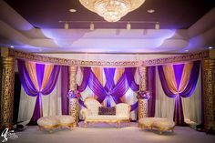 Annie and Zeeshawn - Walima Reception Stage Decor, Wedding Reception Backdrop, Wedding Mandap, Wedding Stage Decorations, Reception Party, Wedding Dresses, Purple And Gold Wedding Themes, Purple Wedding, Gold Backdrop