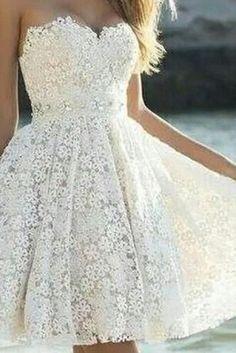 Custom Made A Line Strapless Lace Prom Dresses, Short Formal Dresses