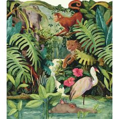 """Brothers and Sisters V Jungle Scenic 15' x 23.88"""" Tropical Borders Wallpaper"""