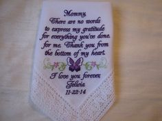 Wedding Handkerchief  Custom Embroidered for Mother by mollyandmom