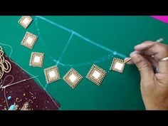 Mirror and golden beads work for boat neck - YouTube