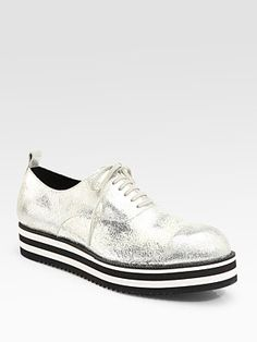 Comme des Garcons Crackled Metallic Leather Oxford $790