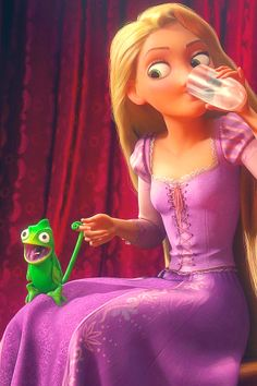Rapunzel and Pascal, practicing ventriloquy.
