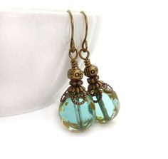 Aqua Drop Earrings Picasso Glass Summer by RockStoneTreasures, $32.00