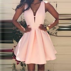 Deep V-Neck Pink Homecoming Dress, Short Satin Prom Dress, Simple Party Dresses on Luulla Cute Homecoming Dresses, Pink Prom Dresses, Prom Party Dresses, Dresses For Teens, Trendy Dresses, Simple Dresses, Elegant Dresses, Sexy Dresses, Dress Outfits