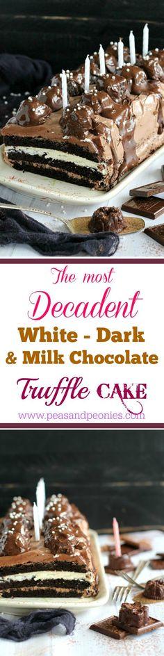 Dark and White Chocolate Truffle Cake Recipe - Peas and Peonies