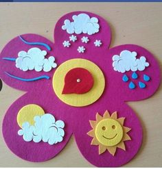 cloud rainbow crafts and weather Preschool Weather, Weather Crafts, Preschool Activities, Kids Crafts, Felt Crafts, Diy And Crafts, Class Decoration, School Decorations, Rainbow Crafts