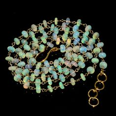 "30CRTS 4to4.5MM 24"" ETHIOPIAN OPAL RONDELLE BEADS CHAIN NECKLACE OBI1479 #OPALBEADSINDIA"