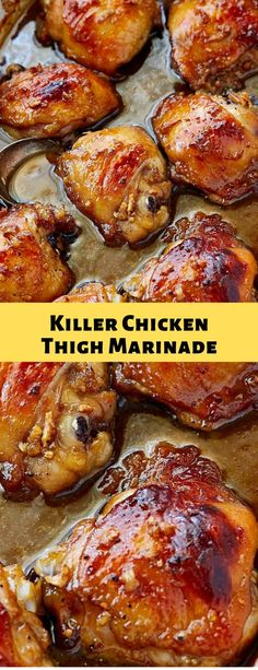 Killer Chicken Thigh Marinade - New Ideas Turkey Recipes, Meat Recipes, Chicken Recipes, Dinner Recipes, Cooking Recipes, Healthy Recipes, Chicken Thigh Grill Recipes, Chicken Thigh Meals, Stuffed Chicken Thighs