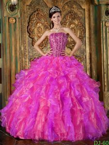 Organza Beaded Multi-Color Ball Gown Strapless Quince Dresses with Ruffles